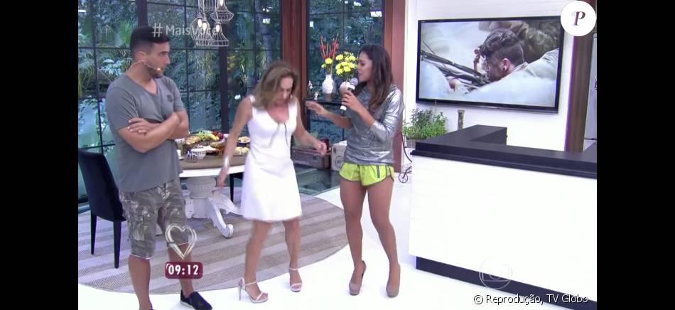 André Marques brincou com Cissa Guimarães após a apresentadora aprender os passos de 'Paredão Metralhadora' no 'Mais Você': 'Não está pulando amarelinha'