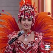 Fátima Bernardes usa fantasia de 25 kg de porta-bandeira na TV: 'Estou ofegante'