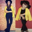 O look de Thaila Ayala foi refeito por Alice, com direito a blazer amarelo
