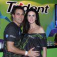 Lisandra Souto foi ao Rock in Rio acompanhada do namorado, o empresário Gustavo Fernandes