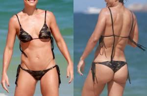 Juliana Paes exibe barriga seca de biquíni em dia de praia com a família