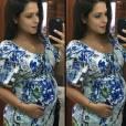 Quando usou macaquinho grávida pela primeira vez, Thais Fersoza comentou: 'Às vezes olhando em foto, até levo um susto com esse barrigão! Passando rápido!'. O modelo floral da atriz é da marca A Gestante e pode ser comprado pelam internet por R$ 198