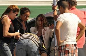 Danielle Winits grava acidente de carro de Amarilys em 'Amor à Vida'. Veja fotos