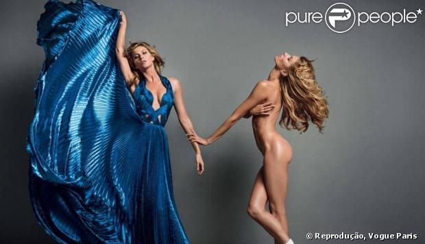 A modelo Gisele Bündchen posa nua em dose dupla para editorial de moda da edição de novembro da revista 'Vogue Paris'