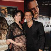 Murilo Rosa recebe Larissa Maciel, grávida, em lançamento de filme no Rio