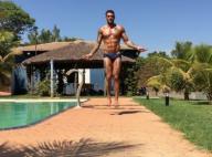 Lucas Lucco exibe abdômen sarado ao pular corda de sunga: 'Mais um dia'