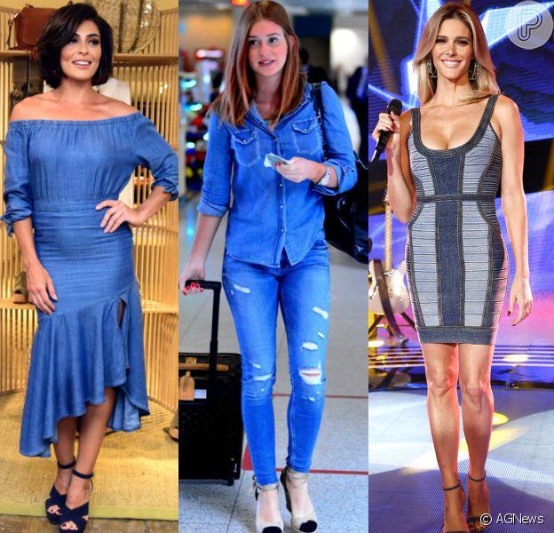 Look total jeans é tendência entre as famosas como Juliana Paes, Marina Ruy Barbosa e Fernanda Lima. Confira!