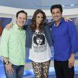 Chris Flores apresentou o 'Hoje em Dia' com Celso Zucatelli e Edu Guedes