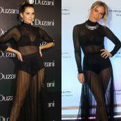 Deborah Secco e Giovanna Ewbank usam looks transparentes iguais no mesmo dia