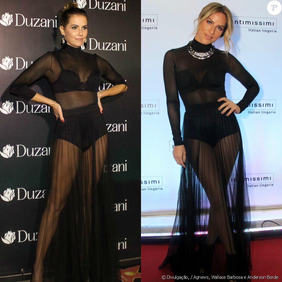 Deborah Secco e Giovanna Ewbank usam mesmo look transparente nesta quarta-feira, 7 de dezembro de 2016