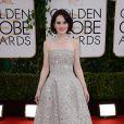 Michelle Dockeryusou um vestido da grife Oscar De La Renta no Globo de Ouro 2014
