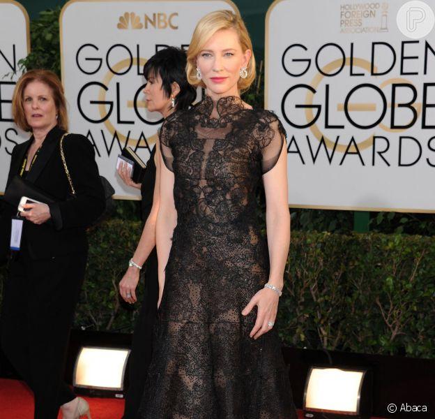 Cate Blanchettusou um vestido da grife Armani no Globo de Ouro 2014