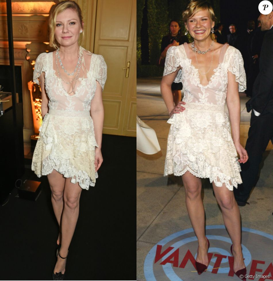 Kirsten Dunst repete vestido rendado 13 anos depois