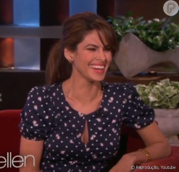 Eva Mendes esteve no programa da Ellen DeGeneres na manhã desta quarta-feira, 12 de fevereiro de 2014