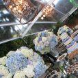 Detalhe da mesa de doces do casamento de Carol Castro e Raphael Sander