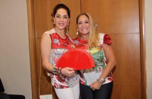 Christiane Torloni e Susana Vieira curtem feijoada da escola de samba Grande Rio