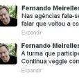 O cineasta Fernando Meirelles criou polêmica ao afirmar no Twitter que Roberto Carlos não voltou a comer carne