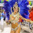 Aline Riscado, dançarina do 'Domingão do Faustão', faz sua estreia como rainha de bateria da Caprichosos de Pilares