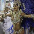 Aline Riscado à frente da bateria da Caprichosos de Pilares, da Série A das escolas de samba do Rio de Janeiro