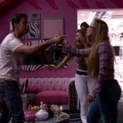 'BBB 14': Aline joga bebida em Marcelo durante briga. 'Trouxa e falsa', diz ele