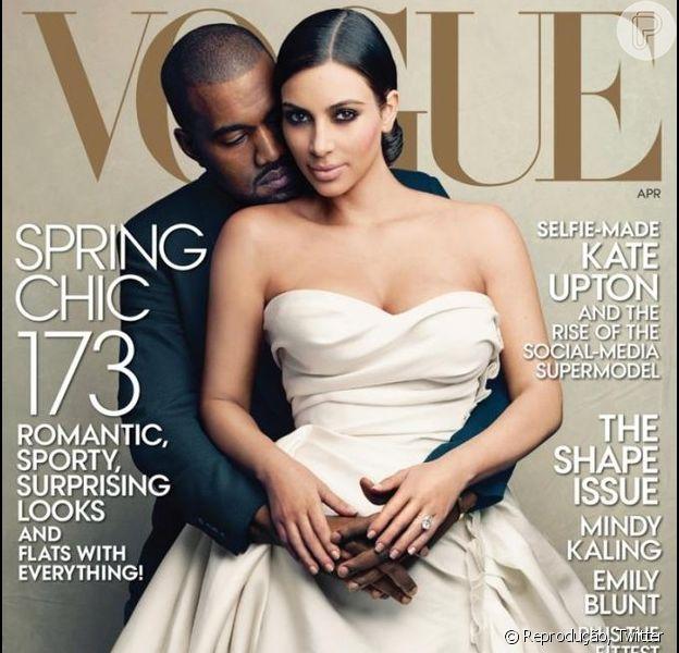 Kim Kardashian e Kanye West posaram juntos para a capa de abril da revista 'Vogue', em 21 de março de 2014
