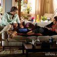 Cadu (Reynaldo Gianecchini) propõe que Clara (Giovanna Antonelli) vá trabalhar com ele no bistrô, mas ela se recusa, na novela 'Em Família'
