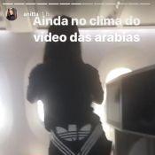 Anitta faz dança sensual no avião após clipe no Marrocos: 'No clima das arábias'