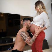 Andressa Suita, aos 9 meses, ganha beijo de Gusttavo Lima na barriga: 'Amor'