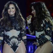 Demi Lovato usa body cavado e exibe boa forma em festival de música. Fotos!