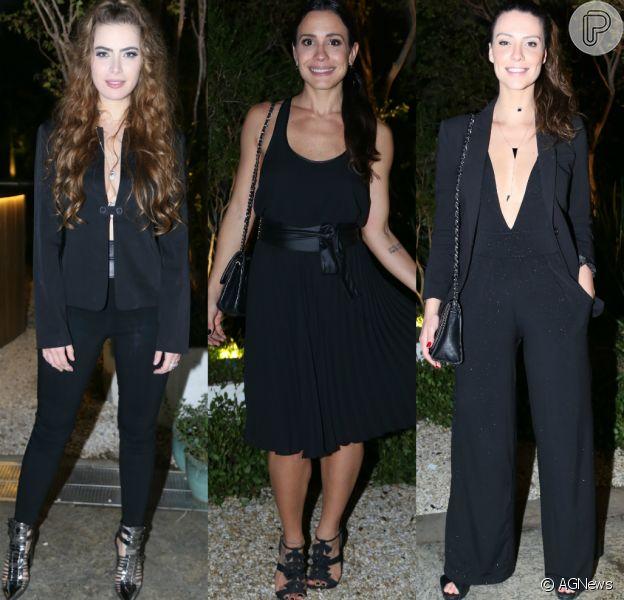 Rayanne Morais, Juliana Knust e Camila Rodrigues apostaram em visuais 'all black' para assistir ao primeiro capítulo da novela 'Belaventura', da Record. Veja mais looks!