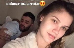 Andressa Suita pausa ensaio para amamentar Gabriel, de 1 mês: 'Make a prestação'