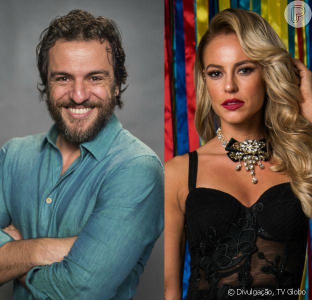Rodrigo Lombardi ganhou uma 'gravata' de Paolla Oliveira no bastidor da novela 'A Força do Querer': 'E se dia a gente briga...de noite também!'