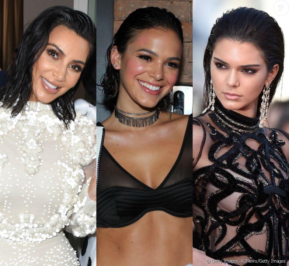 Kim Kardashian, Bruna Marquezine e Kendall Jenner são adeptas do wet hair. Veja outras famosas que já usaram o cabelo com o efeito molhado: