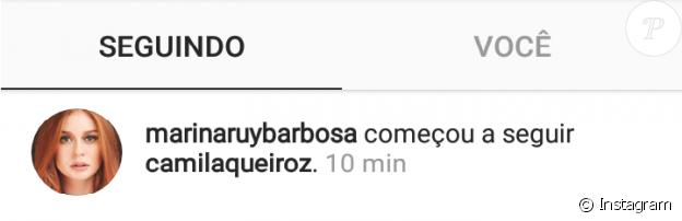 Ex de Klebber Toledo, Marina Ruy Barbosa começou a seguir Camila Queiroz no Instagram