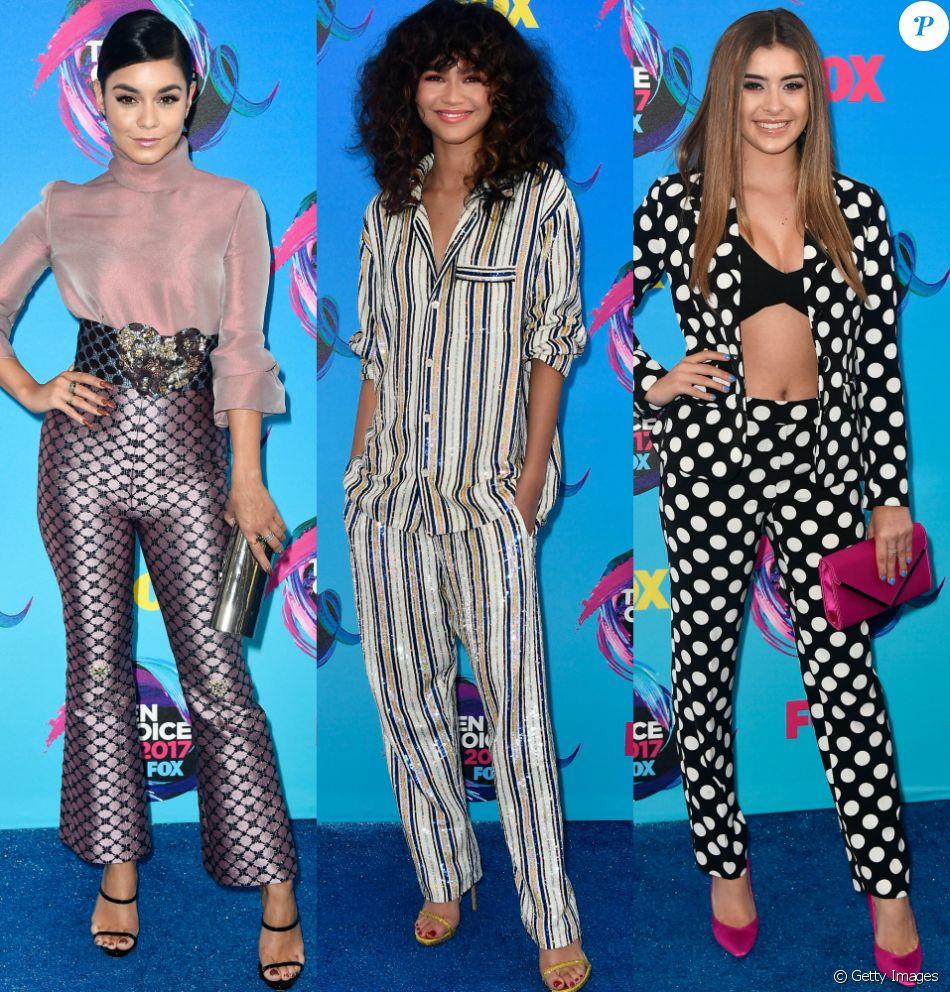 Vanessa Hugdens, Zendaya e  Kalani Hilliker apostaram em looks com calça para o  Teen Choice Awards, realizado no Galen Center, em Los Angeles, neste domingo, 13 de agosto de 2017