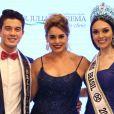 Suzy Rêgo foi madrinha do Concurso Nacional de Beleza 2017 e posa com os vencedores: Matheus Song, de Caminho dos Príncipes (SC), e Gabrielle Vilela, de Angra dos Reis (RJ)
