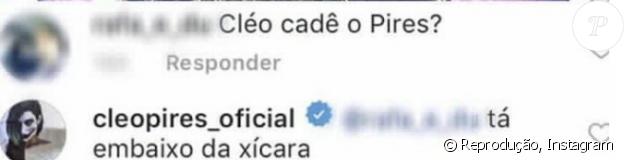 Cleo Pires responde fã ao ser questionada sobre sobrenome