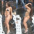 Anitta exibe corpo sequinho e barriga chapada durante gravação de novo clipe