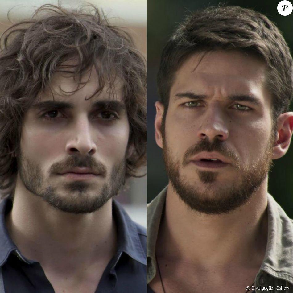 Ruy (Fiuk) atira em Zeca (Marco Pigossi) quando ele declara que Ritinha (Isis Valverde) é dele mesmo, 'de papel passado', na novela 'A Força do Querer', em setembro de 2017