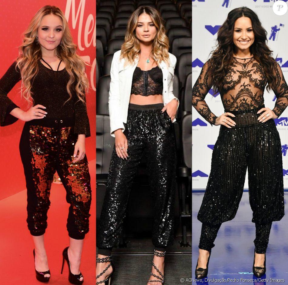 Larissa Manoela, Thássia Naves e Demi Lovato já apostaram em looks com calça de paetês. Veja na galeria mais famosas adeptas de brilho na peça!