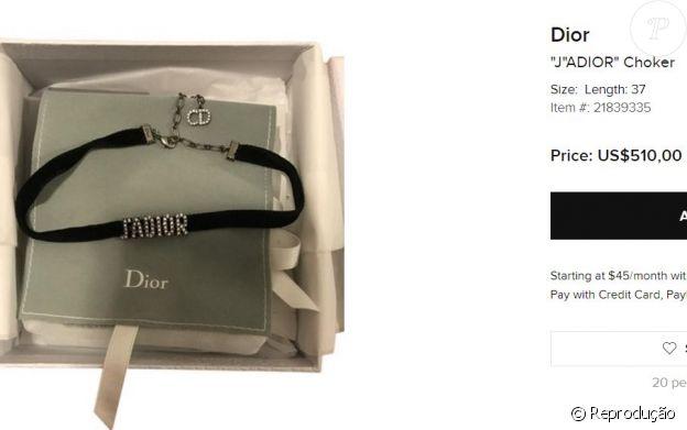 Chocker da grife Dior usada por Bruna Marquezine