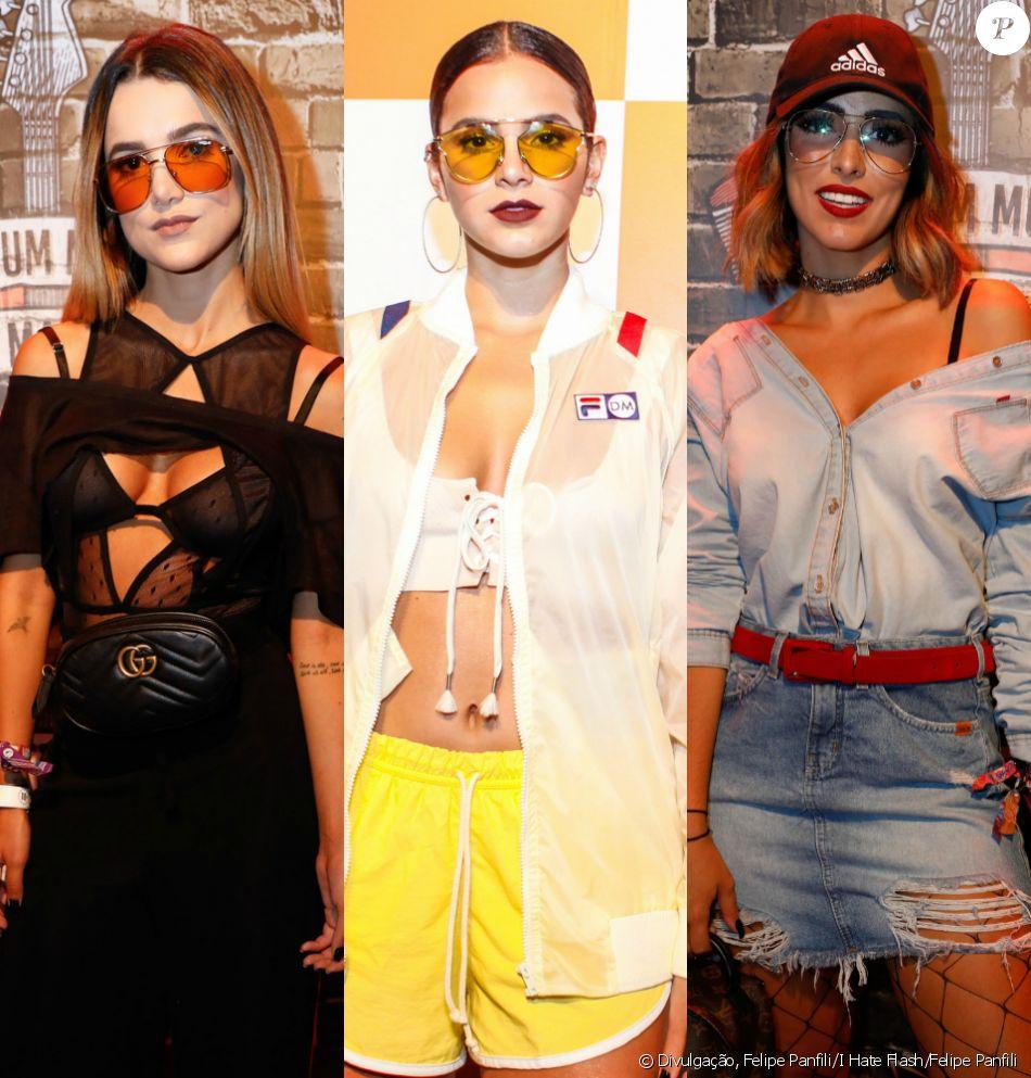Manu Gavassi, Bruna Marquezine e Jade Seba apostaram em óculos de lentes coloridas e transparentes para o Rock in Rio 2017. Veja mais looks!