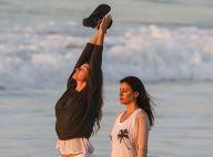 Gisele Bündchen faz meditação e pratica caminhada em praia do Rio. Fotos!