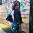 O vestido estampado de Ana Furtado contava com decote nas costas