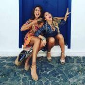 Juliana Paes puxa cabelo de Carla Diaz, sua rival em novela, e brinca: 'Eu pego'