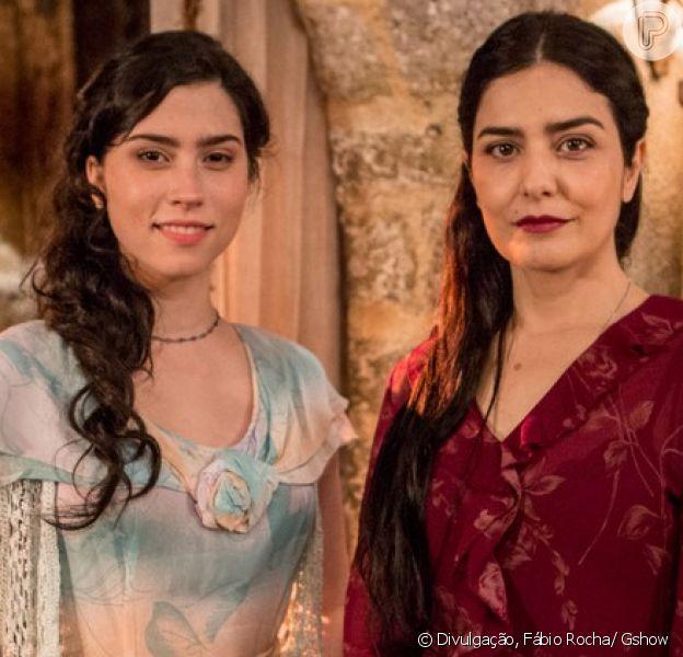 Delfina (Leticia Sabatella) usa Tereza (Olívia Torres), sua própria filha, para enganar Maria Vitória (Vitória Strada), na novela 'Tempo de Amar', em outubro de 2017