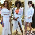 Juliana Paes, Erika Januza e Julia Dalavia usaram branco no lançamento da nova coleção da marca Le Lis Blanc, no Rio de Janeiro, em 5 de outubro de 2017