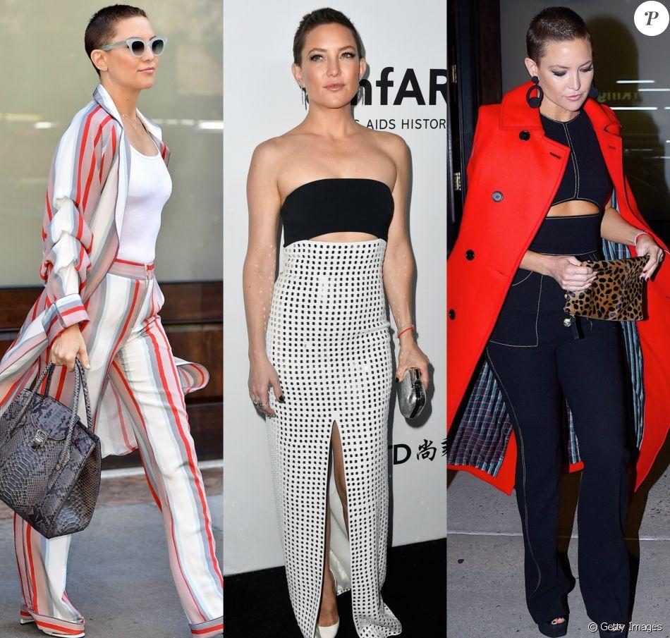 Após raspar a cabeça, em julho de 2017, Kate Hudson tem exibido produções modernas e cheias de estilo