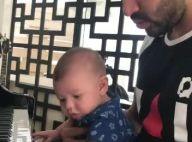 Gusttavo Lima toca piano com o filho, Gabriel, e Andressa Suita tieta: 'Babo'