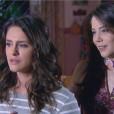 Cecília (Bia Arantes) pergunta para Verônica (Elisa Brites) se ela e Gustavo (Carlo Porto) chegaram a se envolver, mas ela foge da resposta, na novela 'Carinha de Anjo'